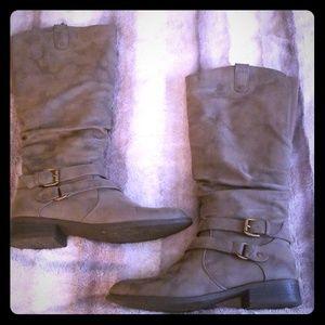 Gray Brash knee-high boots